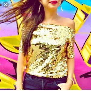 T&J designs gold sparkle sequin off shoulder top